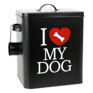 Boîte métallique d'aliments pour chiens 112801 Noir