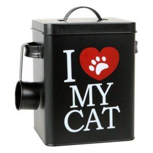 Boîte métallique d'aliments pour chats 112818 Noir