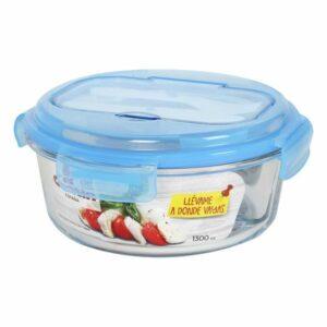 Boîte à lunch avec compartiment à couverts Quttin 1300 cc (ø 21 x 9,5 cm)