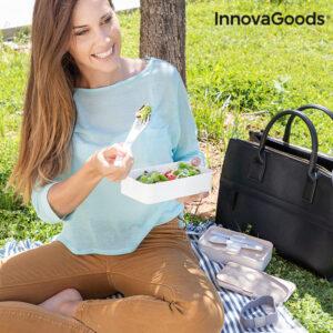 Panier-repas deux compartiments hermétique avec couverts Bentower InnovaGoods