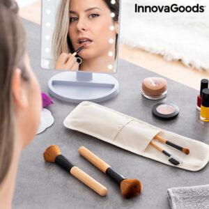 Ensemble de Pinceaux de Maquillage en Bois avec Trousse Miset InnovaGoods 5 Pièces