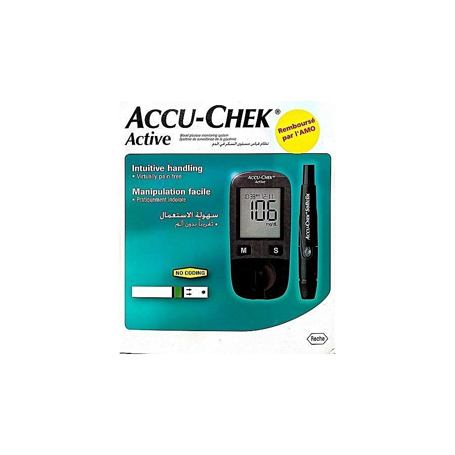 accu chek active kit de lecteur de glycemie 10 bandelettes