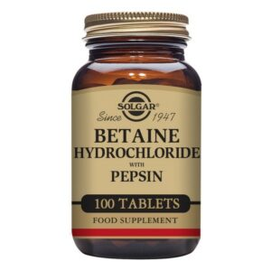 Chlorhydrate de bétaïne avec pepsine Solgar (100 comprimés)